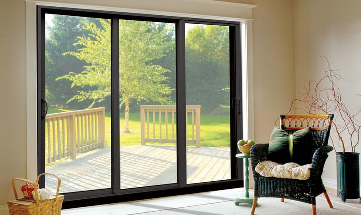 Triple pane sliding glass door