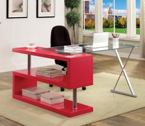 Furniture of America Marisa Contemporary High Gloss Convertible Executive Desk