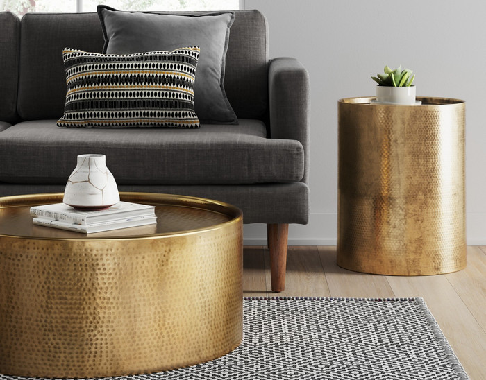 Unique Design and Color of Granby Hammered Barrel Coffee Table 1